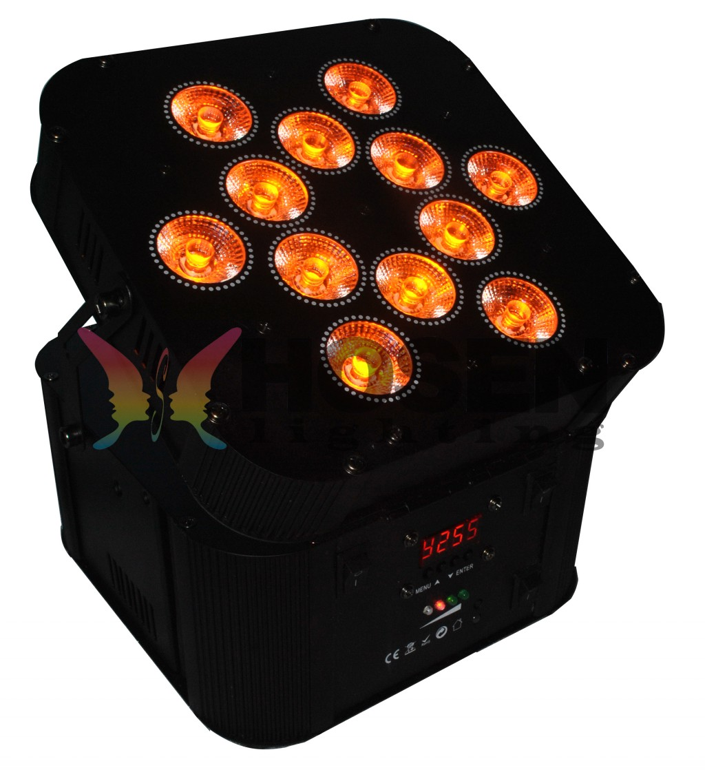 NEW Arrival 12pcs*18W 6in1 RGBAW+UV Battery Powerered Wireless LED Slim Par Can HS-P1218WLB